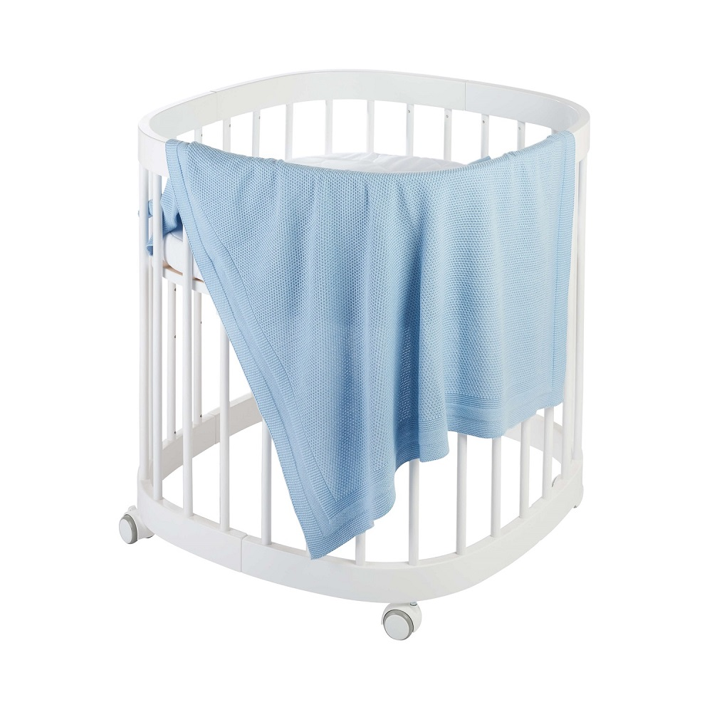 Babydecke Strick PLAID - hellblau