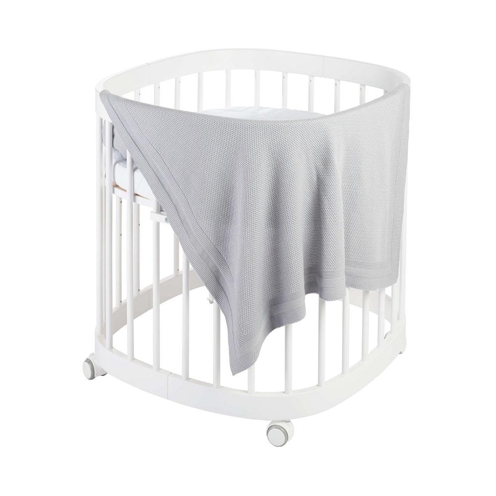 Babydecke Strick PLAID - grau