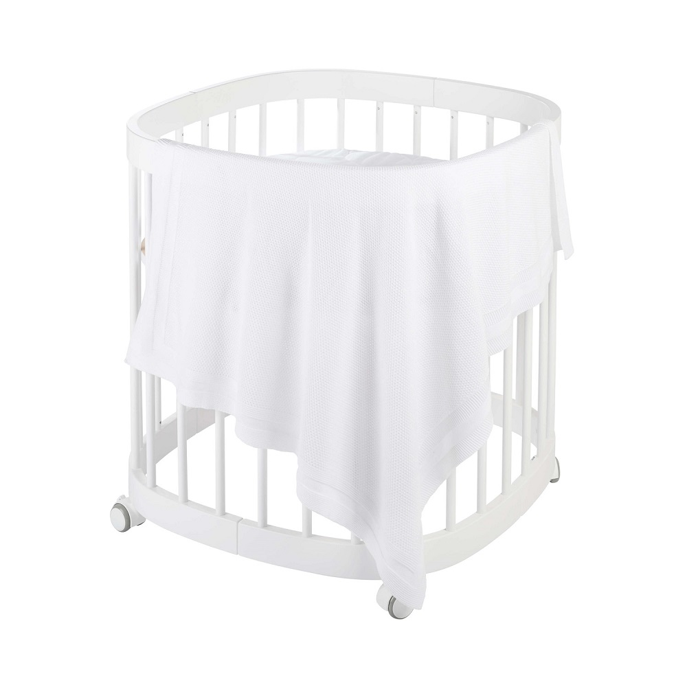 Babydecke Strick PLAID - weiß